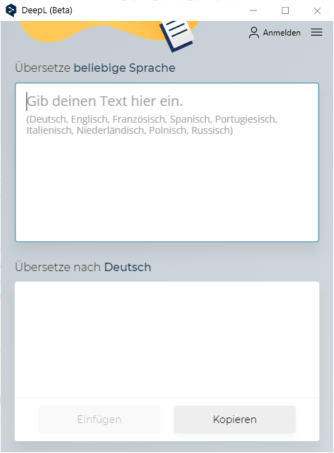 Das Fenster der Übersetzer-App