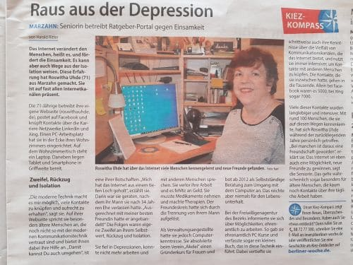 Artikel über Roswitha Uhde in der Berliner Woche