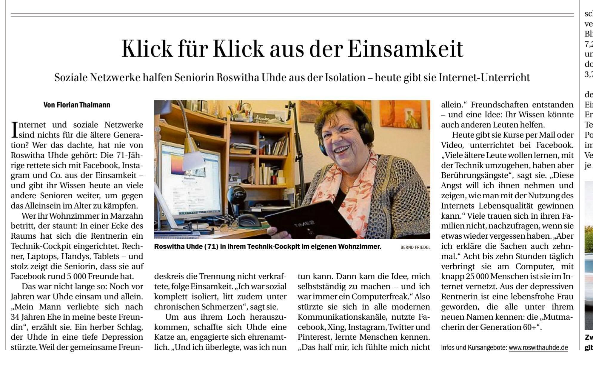 """Artikel über Roswitha Uhde in der Tageszeitung """"Berliner Zeitung"""" am 12.03.2020"""