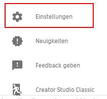 Einstellungen YouTube-Kanal