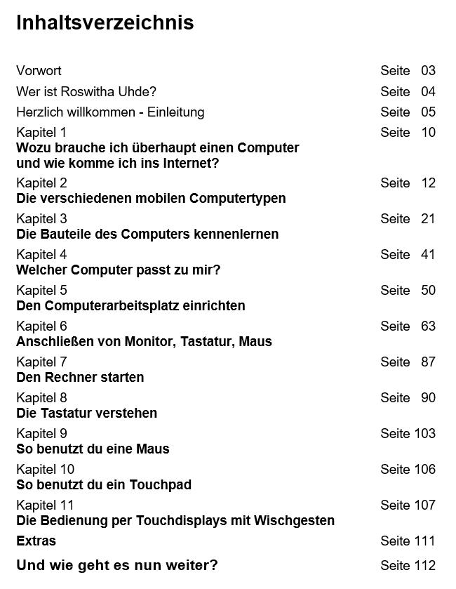 """Inhaltsverzeichnis """"Roswithas Computer 1x1 für Junggebliebene"""""""