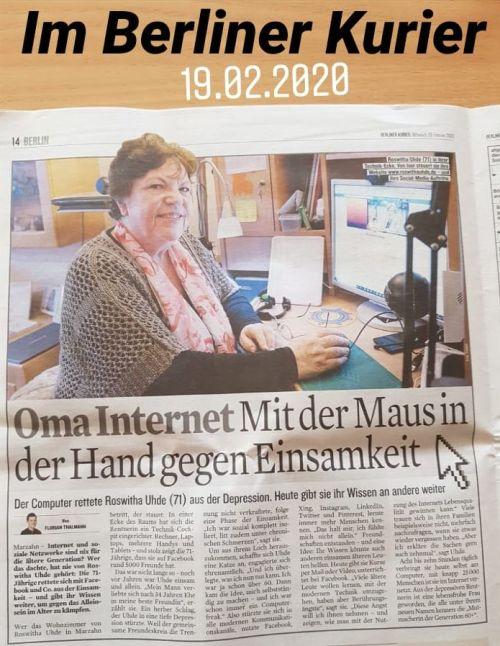 """Artikel über Roswitha Uhde in der Tageszeitung """"Berliner Kurier"""" am 19.02.2020"""