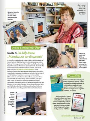 """Artikel über Roswitha Uhde in der Zeitschrift """"Zeit für mich"""" 08/2019"""