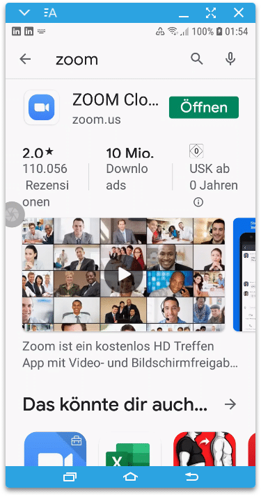 Zoom App für Android im Play Store